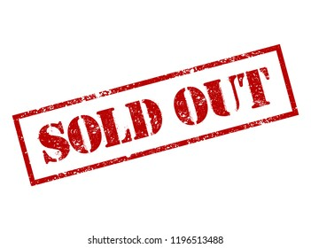 Sold out red square grunge  stamp isolated in white background. sold stamp.  Finale grand sale over, sold out sign. Vector template easy to replace