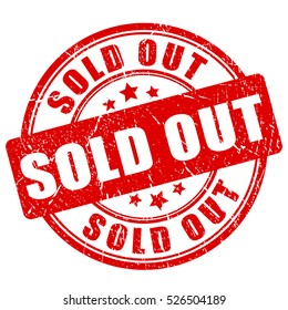 Sold out rubber stamp vector illustration on white background. Sold rubber stamp. Sold out imprint. Red sold stamp.
