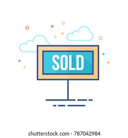 Sold out sign icon in outlined flat color style. Vector illustration.