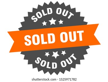 sold out sign. sold out orange-black circular band label