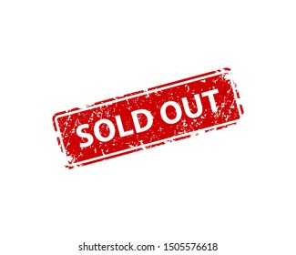 Sold out sign sticker. Stamp vector texture