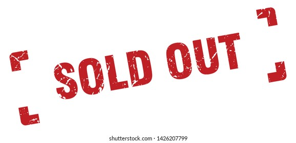 sold out square grunge textured stamp. sold out sign