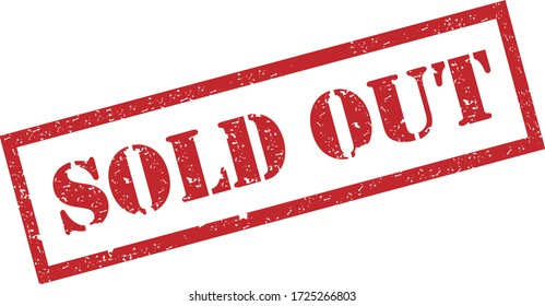 Sold Out Stamp. Red Text Rubber Stamp Ink - Vector.