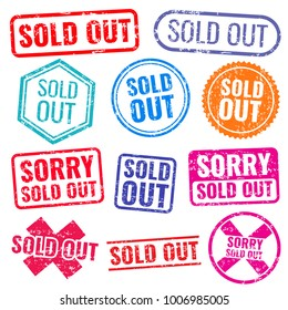 Sold out stamps with grunge texture isolated vector labels set. Colored sold out grunge rubber stamp and imprint illustration