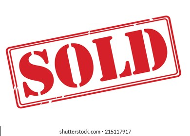 SOLD red rubber stamp vector over a white background.