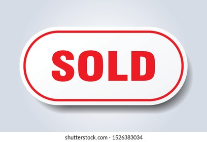 sold red sign. sold isolated white-red peeler