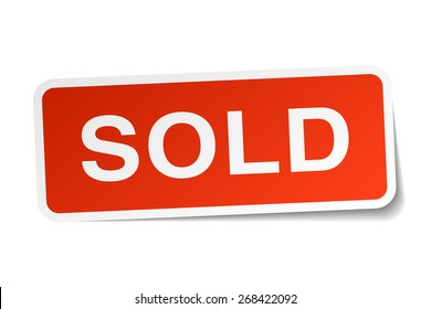 sold red square sticker isolated on white. sold sticker. sold. sold sign