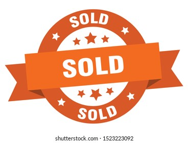 sold ribbon sign. sold round orange peeler