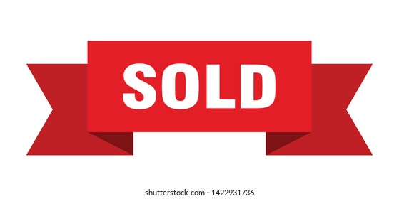 sold ribbon sticker. sold sign. sold banner