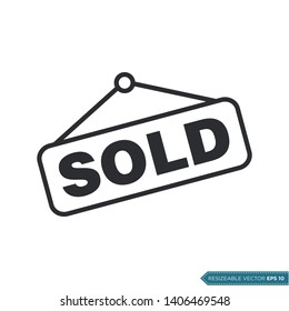 Sold Sign Icon Vector Flat Design