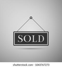 Signe vendu isolé sur fond gris. Vendu d'un autocollant. Panneau vendu. Design plat. Illustration vectorielle