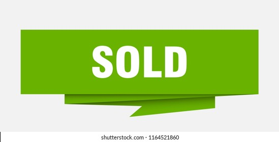sold sign. sold paper origami speech bubble. sold tag. sold banner