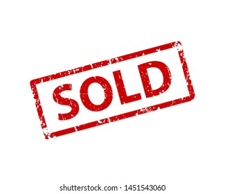 Sold sign sticker. Stamp vector texture