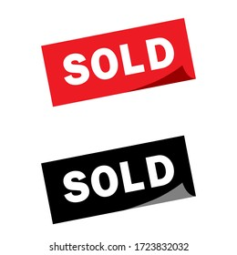 Sold square sticker illustration collection. Sold vector icon set. marketing sign.