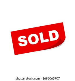 sold square sticker on white background. Vector