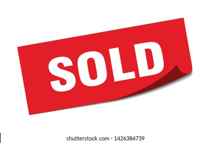 sold square sticker. sold sign. sold banner