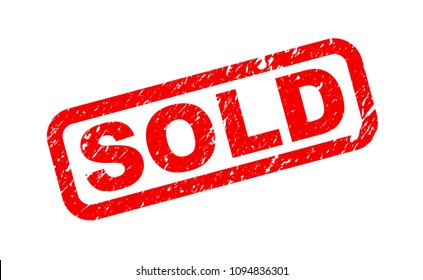 Sold stamp, red isolated on white background, vector illustration.