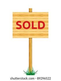 Sold wooden billboard