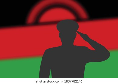 Solder silhouette on blur background with Malawi flag. Template for memorial day