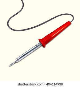 Soldering iron with a red handle.