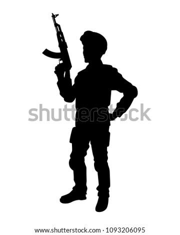 soldier ak 47 rifle gun hand silhouette stock vector royalty free