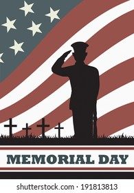soldier with an american flag background in memorial day