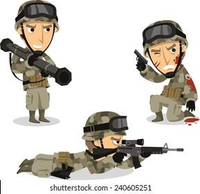 Soldier with bazooka machine gun helmet war uniform standing, vector illustration cartoon.