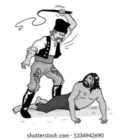 soldier beating a runaway gypsy slave
