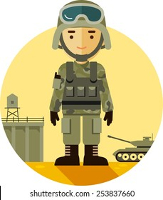 Soldier in camouflage uniform on military background in flat style