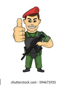 Soldier cartoon vector
