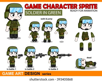 Soldier Character Game Sprite in Chibi anime style. Vector game art character design ready for animation. Walk, jump, attack and dead position set. Weapon set for game. No transparency, no gradient.