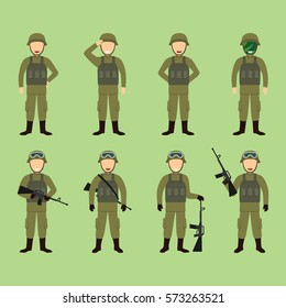Soldier Character Vector Illustration.