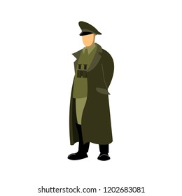 the soldier commander is in a cloak or overcoat with binoculars on his chest, hands behind his back. Drawing, vector. Green.