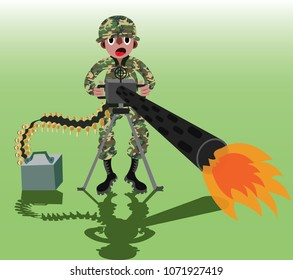 A soldier fiercely fires a machine gun,