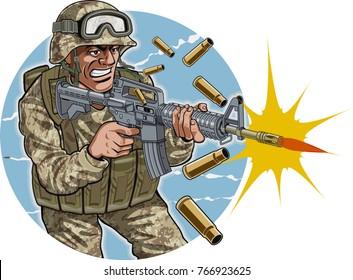 soldier firing automatic assault rifle
