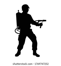 A soldier with flamethrower silhouette vector