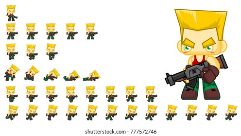 Soldier game character for creating shooter action games