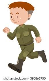 Soldier in green uniform running illustration