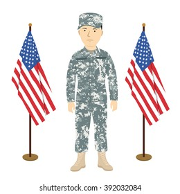 Soldier in grey winter camouflage between two American flags vector illustration