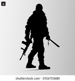a soldier with a gun icon, vector illustration