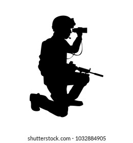 Soldier with gun silhouette vector