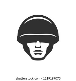 Soldier head in a helmet icon