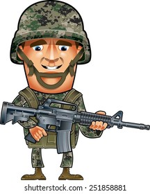 soldier with helmet and assault rifle