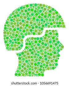 Soldier Helmet collage of filled circles in variable sizes and green color tinges. Vector circle elements are united into soldier helmet illustration. Fresh vector illustration.
