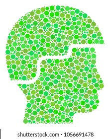 Soldier Helmet composition of dots in variable sizes and eco green color hues. Vector round dots are grouped into soldier helmet composition. Freshness vector illustration.