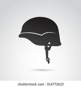 Soldier helmet icon isolated on white background. Vector art.