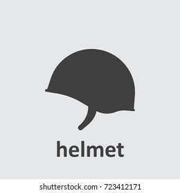 Soldier helmet icon on the grey background.
