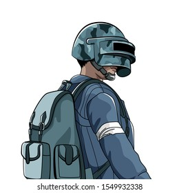 Soldier in helmet and in military uniform. Cartoon style. battle royale online video game. Battleground competition. Isolated vector illustration