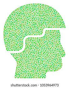 Soldier Helmet mosaic of dots in different sizes and ecological green color tinges. Round dots are organized into soldier helmet vector collage. Ecology vector design concept.