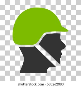 Soldier Helmet vector pictogram. Illustration style is flat iconic bicolor eco green and gray symbol on a transparent background.